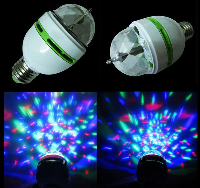 Kafuty Bombilla de Bola de Discoteca giratoria con Toma de Corriente iluminaci/ón de Escenario con Bola giratoria de 2 Cabezales KTV Bombilla de luz LED RGB L/ámpara de Efecto de Fiesta UE 220v