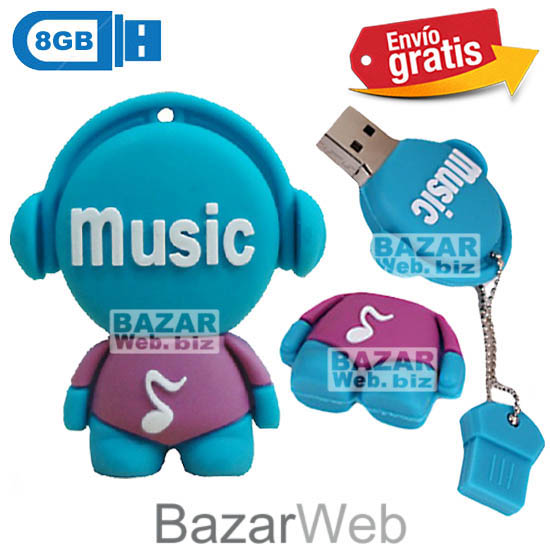 USB MEMORIA FLASH PENDRIVE DISC JOCKEY AZUL 8GB