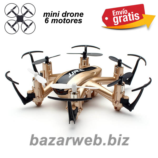 MINI DRONE COLOR DORADO CON 6 MOTORES Y LUCES LEDS
