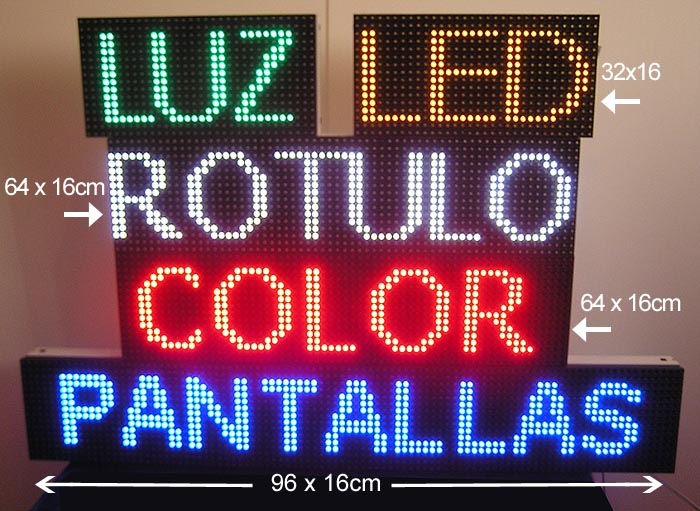 .ROTULO LETRERO LUMINOSO LED PROGRAMABLE MEDIDAS 64X16cm